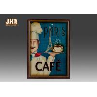 Buy cheap Blue Wall Hanging Plaques Coffee House Wall Decor Antique Wooden Wall Art Signs product