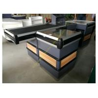 Buy cheap Supermarket Metal Conveyor Belt Cashier Checkout Counter With Steel Wood Anti-corrosion from wholesalers