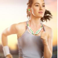 Black / White Neckband In Ear Bluetooth Headset With MP3/SD/DSP/CVC