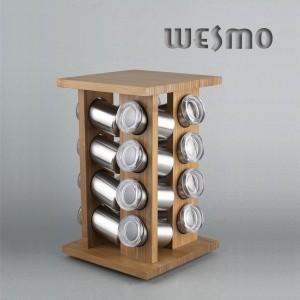 China 16 Stainless Steel Bottles, Durable Carousel Revolving Bamboo Spice Rack on sale