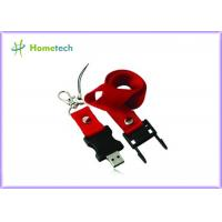 Buy cheap Red Plastic Lanyard USB Flash Drives 128mb Custom Printed , USB 2.0 product