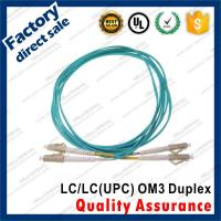 Buy cheap lc-lc/upc OM3 10Gb optic fiber patch cords for structure cabling gray connectors Duplex Aqua pvc sheath jacket product