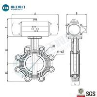 Cast Iron Lug Type Wafer Butterfly Valve with Penumactic Actuator for Water ,Sewage& Pulp