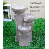 Quality Grey Garden Polyresin Water Fountain With Stone Effect 39 X 36.5 X 63.5 Cm for sale