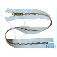 Buy cheap Long Metal 8# Golden Big Teeth Zipper Close End White Tape For Garment / Textile product