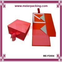 Buy cheap Luxury glossy coadboard paper folding box for cosmetic with silk ribbon closure product