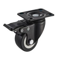 China Low Profile Furniture Caster Wheel With Brake PU Wheel Ball Bearing Plate on sale