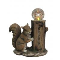 Classical Squirrel Welcome Garden Solar Light , Animal Solar Lights Outdoor With Glass Ball