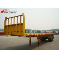 Buy cheap 2- Axis 40 Foot Flat Deck Semi Trailer Baffle 8 Tires 13T FUWA Axles In Yellow product