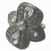 Buy cheap Shield shape with crystal in stretch ring product