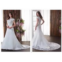 A Word Shoulder A Line Style Wedding Dresses Short Sleeve Tailing Slim