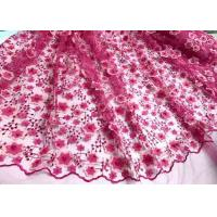 Buy cheap Colored Handmade 3D Flower Lace Fabric , Scalloped Embroidered Mesh Lace Fabric product