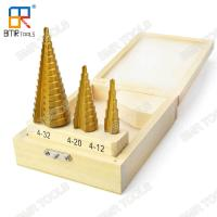 China Hot Sells HSS 4241 Ti-Coating Straight Step Drill Bit Set-3pcs set packed with wooden box-4-12mm/4-20mm/4-32mm on sale