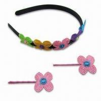 China Fashionable Hair Accessories Set with Headband and 2 Hair Clips on sale