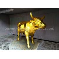 Buy cheap Durable Custom Shinny Gold Electroplated Crafts Fiberglass Cow Sculpture product