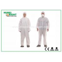 Buy cheap Type 5 / 6 Disposable Coveralls with Hood Splash Proof SMS Chemical Coveralls product