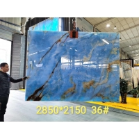Buy cheap Backlit Blue Crystal Jade Onyx Slab Marble Stone For Background product