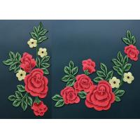 Buy cheap Colorful Polyester Neckline Embroidered Applique Patches With Large Red 3D Flower product