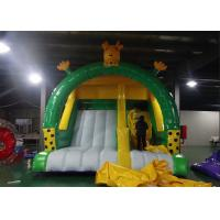 China Yellow N Green Color Giraffe Inflatable Dry Slide Creative Design Big PVC Slide on sale