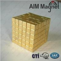 Buy cheap Gold Coated Small Block Neodymium Magnet from wholesalers