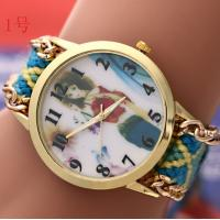 Buy cheap Gril Knitted Strap Geneva Flower Watch For Girls With Stainless Steel Back Colorful product