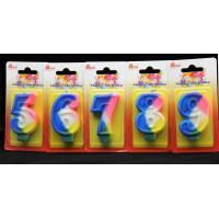 Buy cheap Rainbow Color 0-9 Number Birthday Candles Handmade product