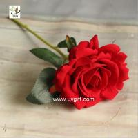 China UVG FRS66 wedding accessories artificial red velvet rose flower for party table decoration on sale