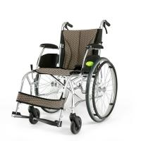 Buy cheap YMTC-45 Dark Brown Folding Self-propelled ManualTransport Chair Wheelchair in Ultralight Aluminum Alloy with Folding Bac product