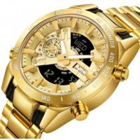 China Gold Mens Watches Sport Watch Men LED Dual Display Wristwatch Male Water Resistant Luminous Relogio Masculino on sale