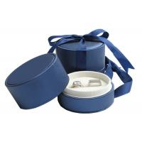 Buy cheap Wedding Double Rings Jewelry Paper Boxes With Ribbon Dark Blue product