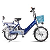 24'' Aluminum Rims Lithium Single Speed City Bike Blue Pedal Assist Electric Bike