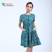 Buy cheap Knee Length Short Cotton Summer Dresses Flower Pattern Printing , None Decoration product