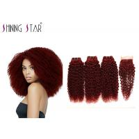 Buy cheap Remy Curly Hair Weave 99J Red Color Kinky Curly Human Hair Bundles With Closure from wholesalers