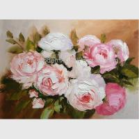 China Blossoming Pink Rose Oil Painting, Hand Painted Floral Oil Painting For Wall Decor on sale
