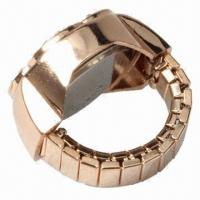 Buy cheap Stylish Finger Ring Quartz Watch Timepiece Elastic Watch with Floral-shaped Rhinestones Decors product