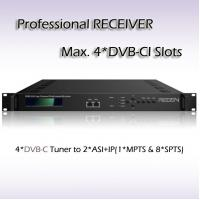 Buy cheap Four-Channel Professional Receiver DVB-C input with 4*DVB-CI slots BISS Support RSR1104 product