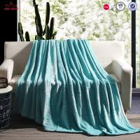 Quality Plain Style Flannel Plush Blanket Durable Lightweight For Bed Cover / Sofa Throws for sale