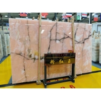 Buy cheap Transparent Afghan Pink Jade Onyx Slab With Brown Veins product