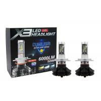 Buy cheap 6000LM 50W X3 H4 HB2 Fanless Auto Motorcycle Car LED Headlight DC 9 - 36V product