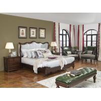 Buy cheap American Western design style Villa Bedroom furniture Fabric Headboard Screen Wood Bed with Leather Bench and  Armchair product