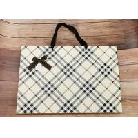 Buy cheap Luxury Check Pattern Reusable Kraft Paper Packaging Bags Big Size With Silk Ribbon product