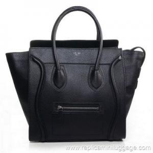 China Celine Mini Luggage Tote Bag Pebbled Leather Black on sale