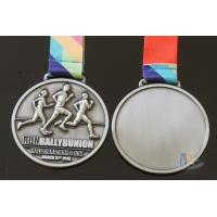 Buy cheap Half Marathon Or 10K Running Custom Sports Medals Antique Silver Plating Sublimated Ribbon product