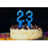 Buy cheap Pure Blue Color Mini Number Birthday Candles With Spiral Candle Holder product