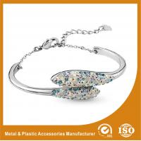 Buy cheap Women Charm Stainless Steel Silver Bangle Bracelets With White Zircon product