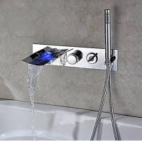 China LED Color Changing Wall Mounted Bathtub Faucet with Hand Shower, FY-1111-02 on sale