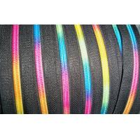 Buy cheap 5# nylon rainbow sewing line silver teeth open end zipper multi colored product