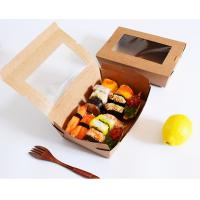 Buy cheap Sushi Compostable Food Safe Cardboard Boxes With Window Customized Logo product