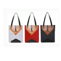 China 33*36 Cm Felt Leather Bag , Lightweight Easy Carrying Felt And Leather Bag on sale