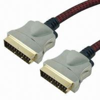 Buy cheap SCART Cable Assemblies with 24KGold-plated, Metal Shell, Full Copper Inner Lead, Made of PVC product